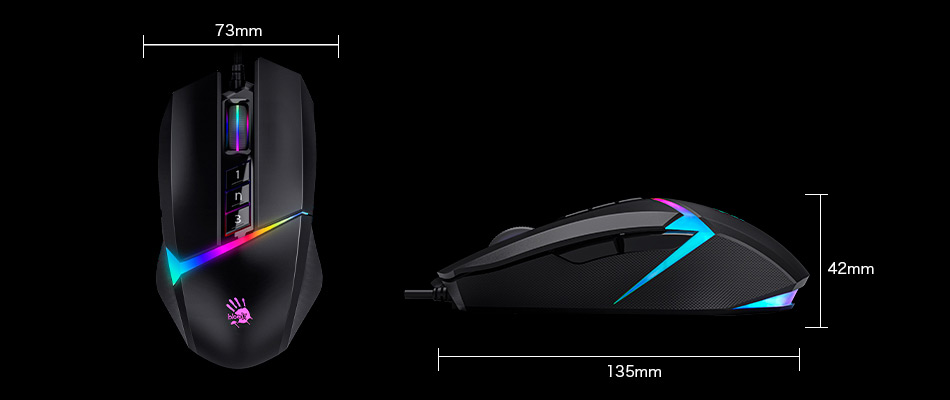 Bloody W60 Max RGB Gaming Mouse - Size